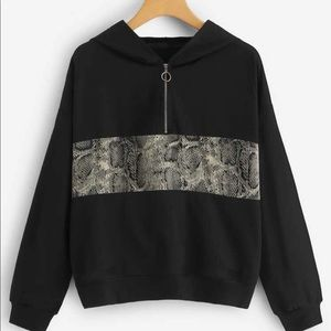 Snake print panel hoodie sweatshirt